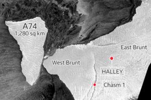 Гигантский айсберг А74 «поцеловал» побережье Антарктиды