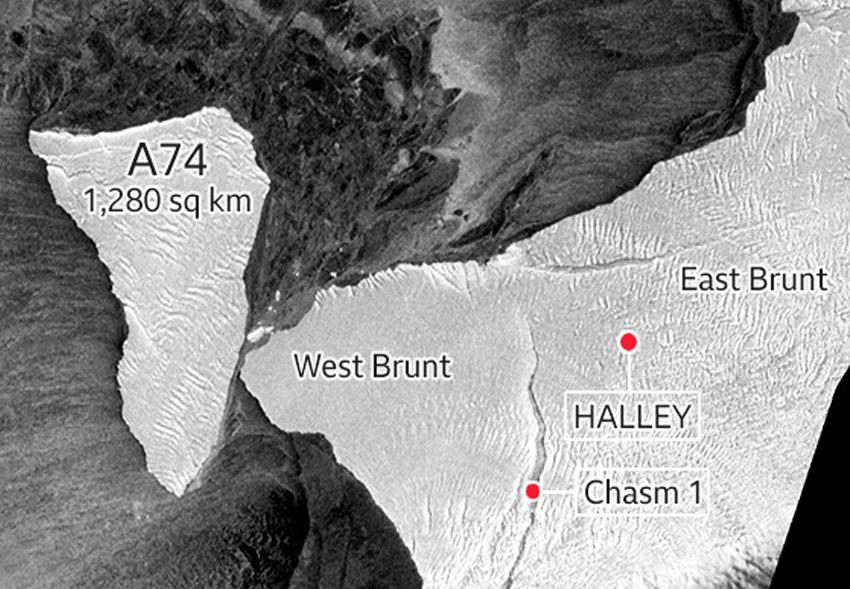 Гигантский айсберг А74 «поцеловал» побережье Антарктиды.Вокруг Света. Украина